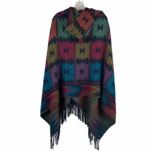 Aztec Button Front Hooded Poncho Boho Hippie